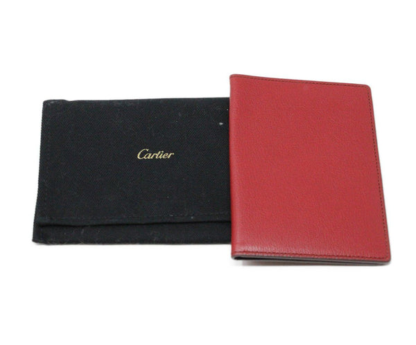 Cartier Red Taupe Leather W/Pouch Leather Goods 7