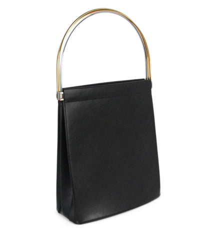 Cartier black leather gold silver hardware bag 1