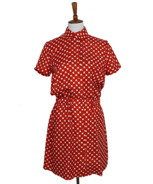 Carven Red White Print Silk Dress 1