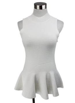 Carven White Viscose Nylon Top Size 6