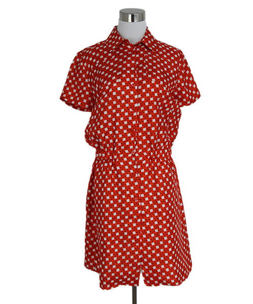 Carven Red Orange White Black Print Silk Dress 1