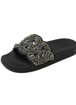 Casadei Black Slide Sandals with Rhinestone Detail 1