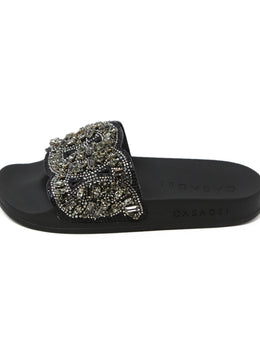 Casadei Black Slide Sandals with Rhinestone Detail 2