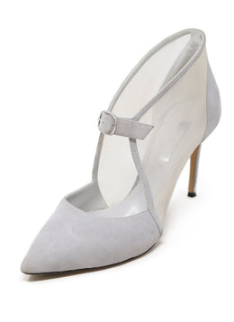 Casadei Grey Suede and Mesh Heels Size 6.5