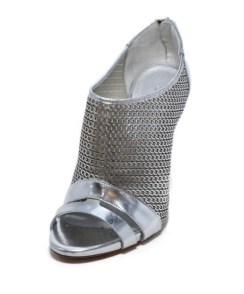 Casadei Metallic Silver Leather Peep Toe Heels 1