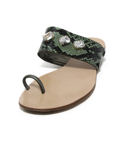 Casadei Black Green Leather Rhinestone Sandals 1