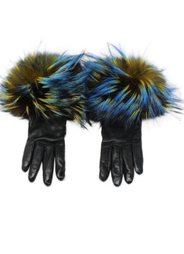 Etro Black Leather Gloves with Yellow and Blue Fox Fur Trim