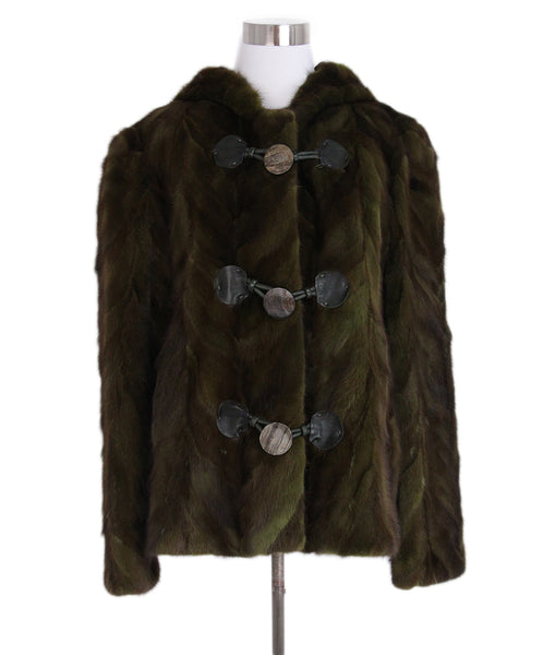 Cassi Green Brown Mink Fur Jacket 1