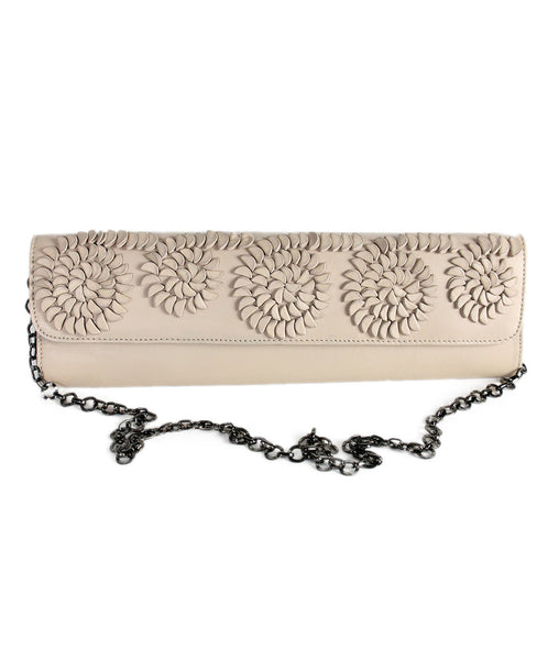 Catherine Malandrino Beige Leather Floral Clutch