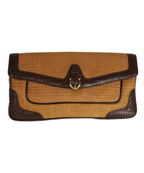 Cece Cord Straw and Leather Clutch 1