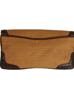 Cece Cord Straw and Leather Clutch 2