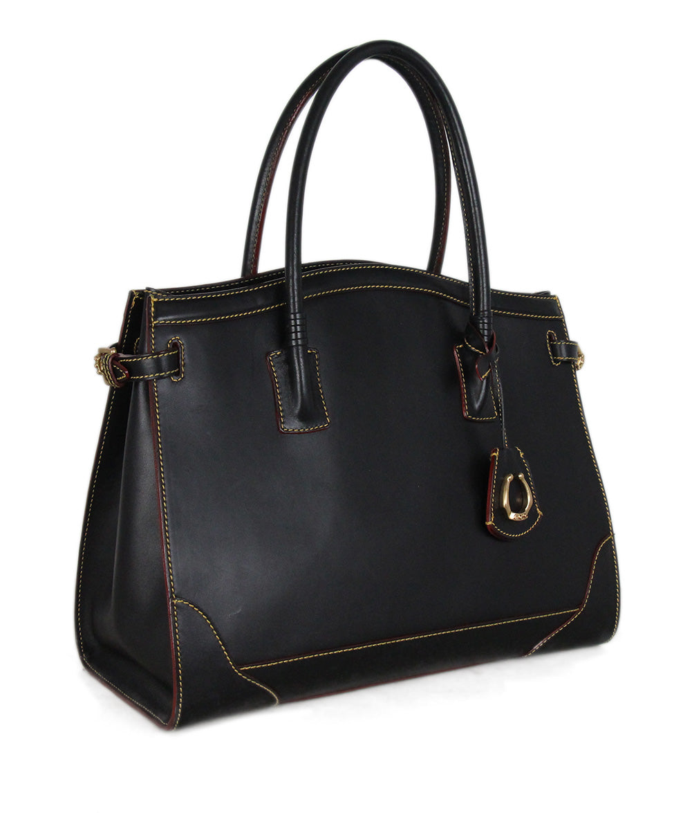 Cece Cord black leather yellow stitching tote 2