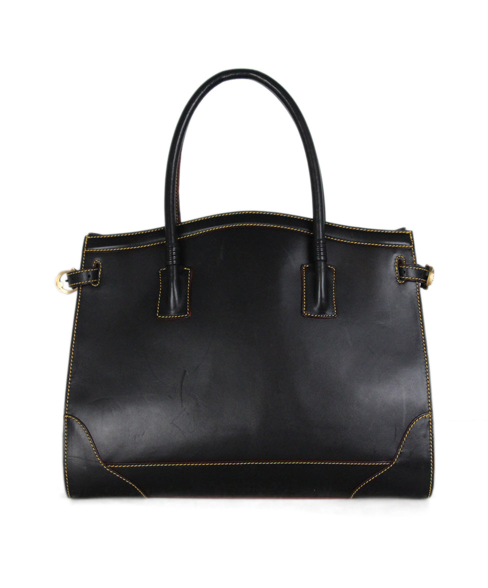 Cece Cord black leather yellow stitching tote 3