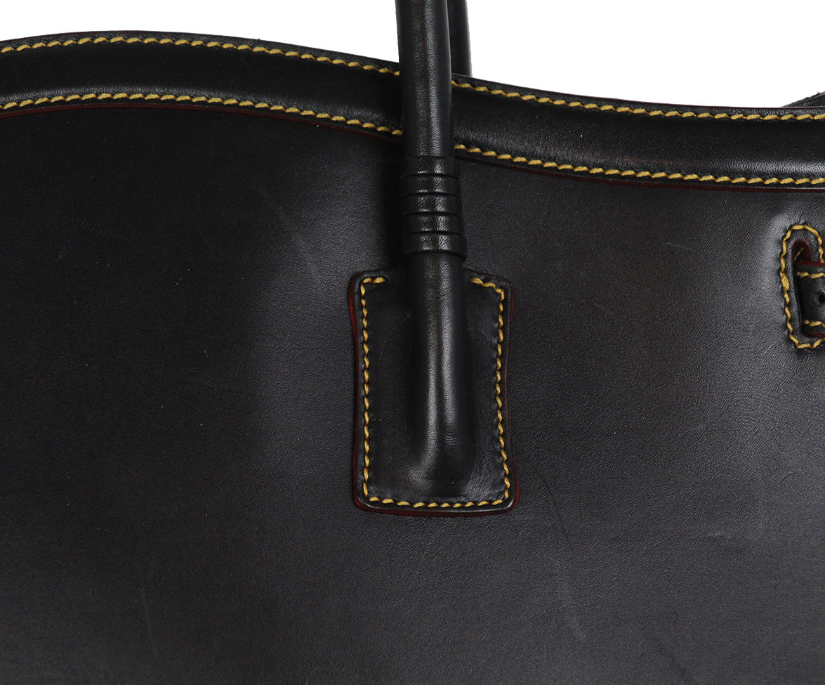 Cece Cord black leather yellow stitching tote 8