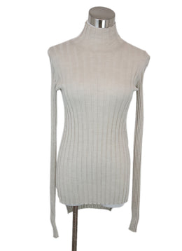 Celine Neutral Beige Ribbed Knit Turtleneck Longsleeve Top 1