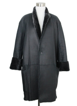 Celine Black Grey Shearling Coat 1