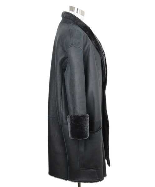 Celine Black Grey Shearling Coat 3