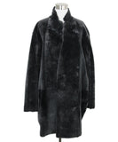Celine Black Grey Shearling Coat 2
