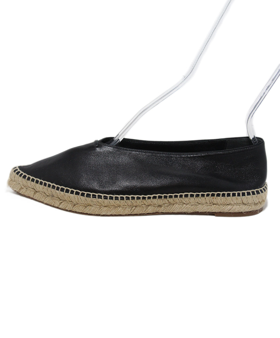 Celine Black Leather Espadrilles Flats 2