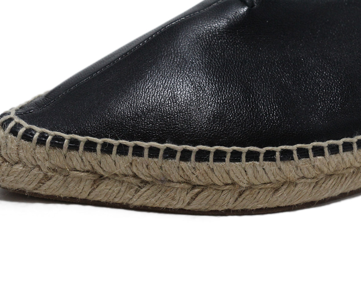Celine Black Leather Espadrilles Flats 7