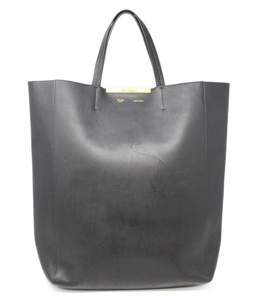 Celine Vertical Cabas Clasp Black Leather Tote