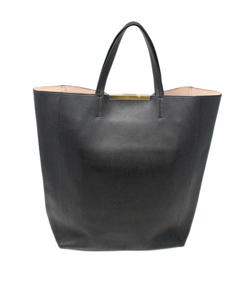 Celine Vertical Cabas Clasp Black Leather Tote 2
