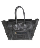 Tote Gold Hardware Zipper Leather Celine Black Snake Skin Leather Handbag 1