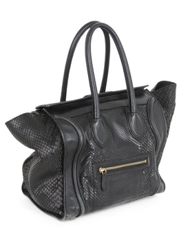 Tote Gold Hardware Zipper Leather Celine Black Snake Skin Leather Handbag 2