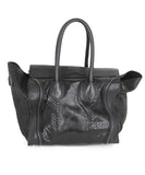 Tote Gold Hardware Zipper Leather Celine Black Snake Skin Leather Handbag 3