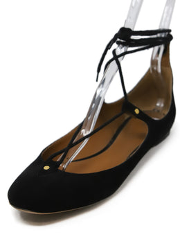 Chloe Black Suede Lace Up Flats 1