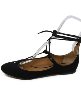 Chloe Black Suede Lace Up Flats 2
