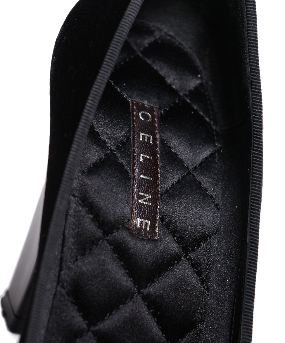 Celine Black Velour Heels 6