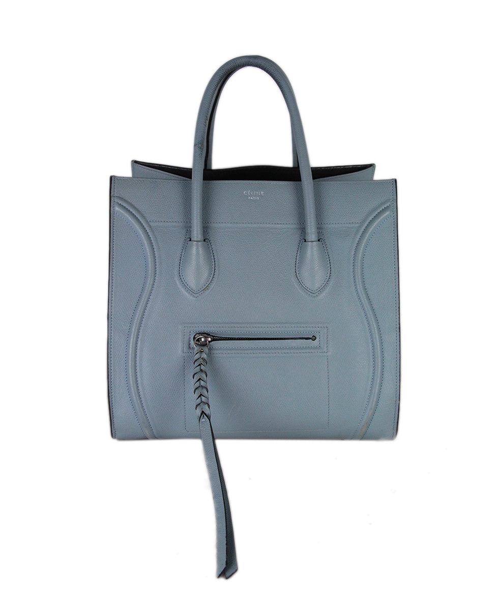 Celine Blue Leather Tote 1