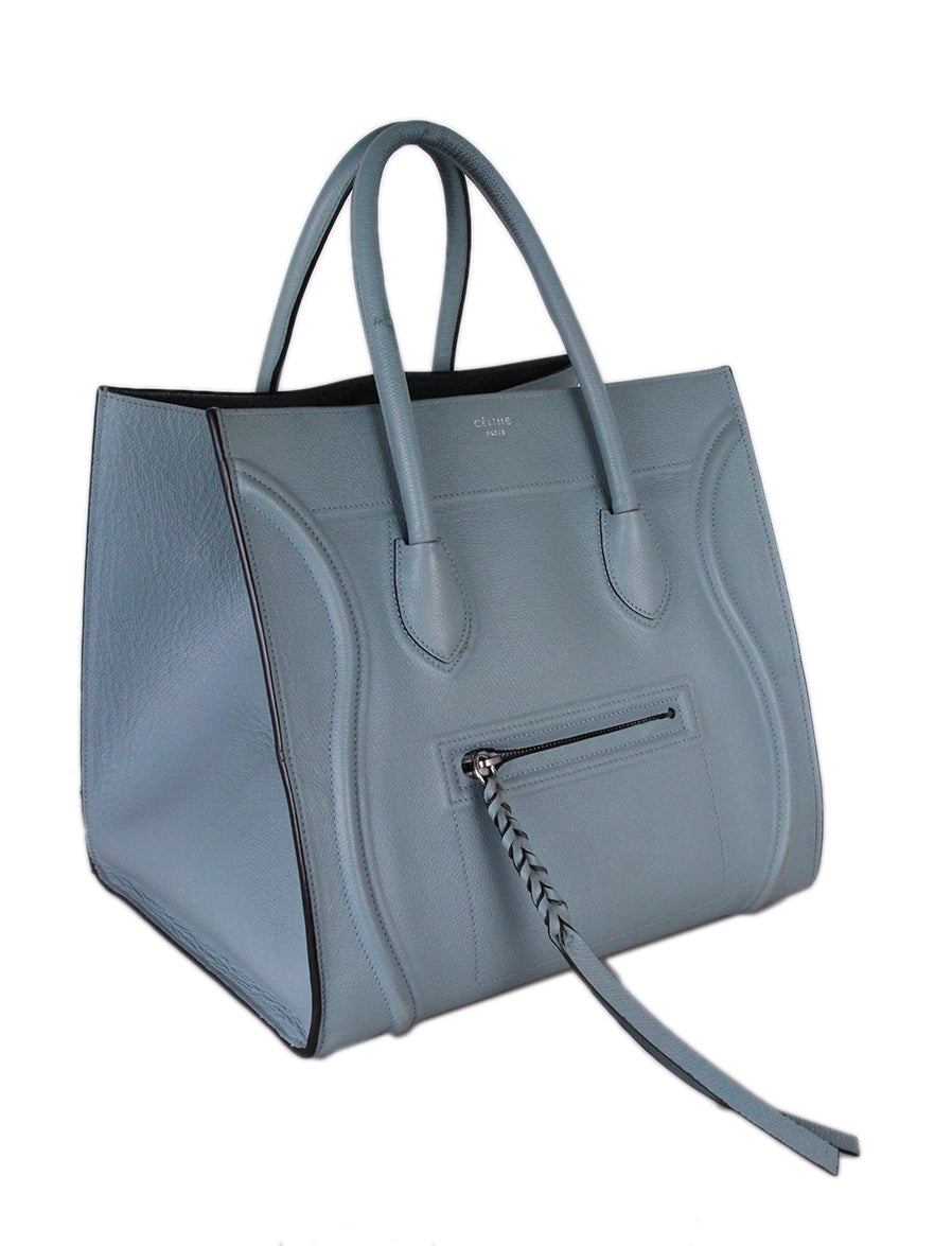 Celine Blue Leather Tote 2