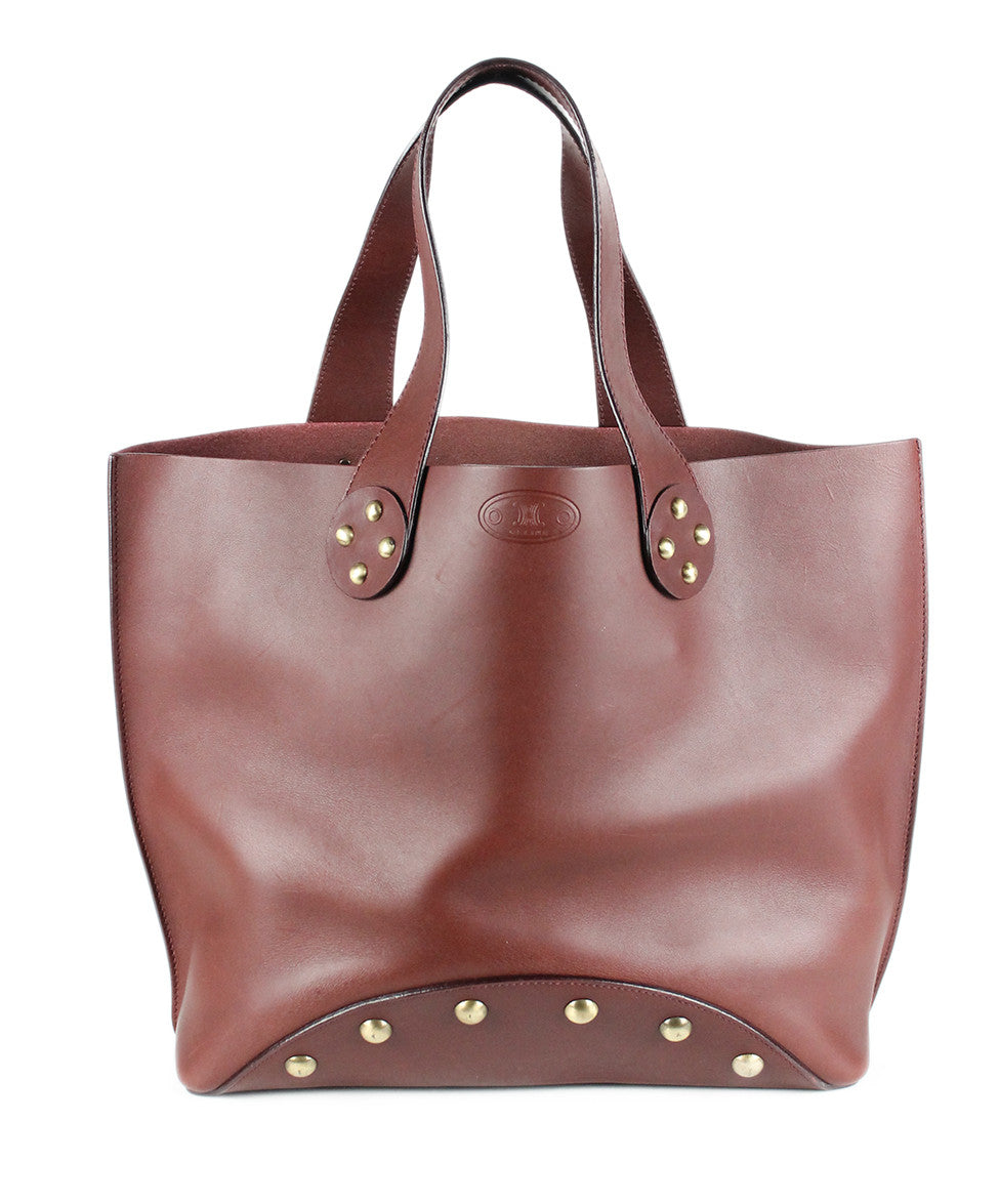Celine Brown Burgundy Leather Handbag - Michael's Consignment NYC  - 1