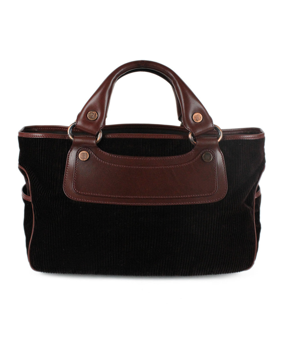 Celine Brown Corduroy Leather Bag - Michael's Consignment NYC  - 1