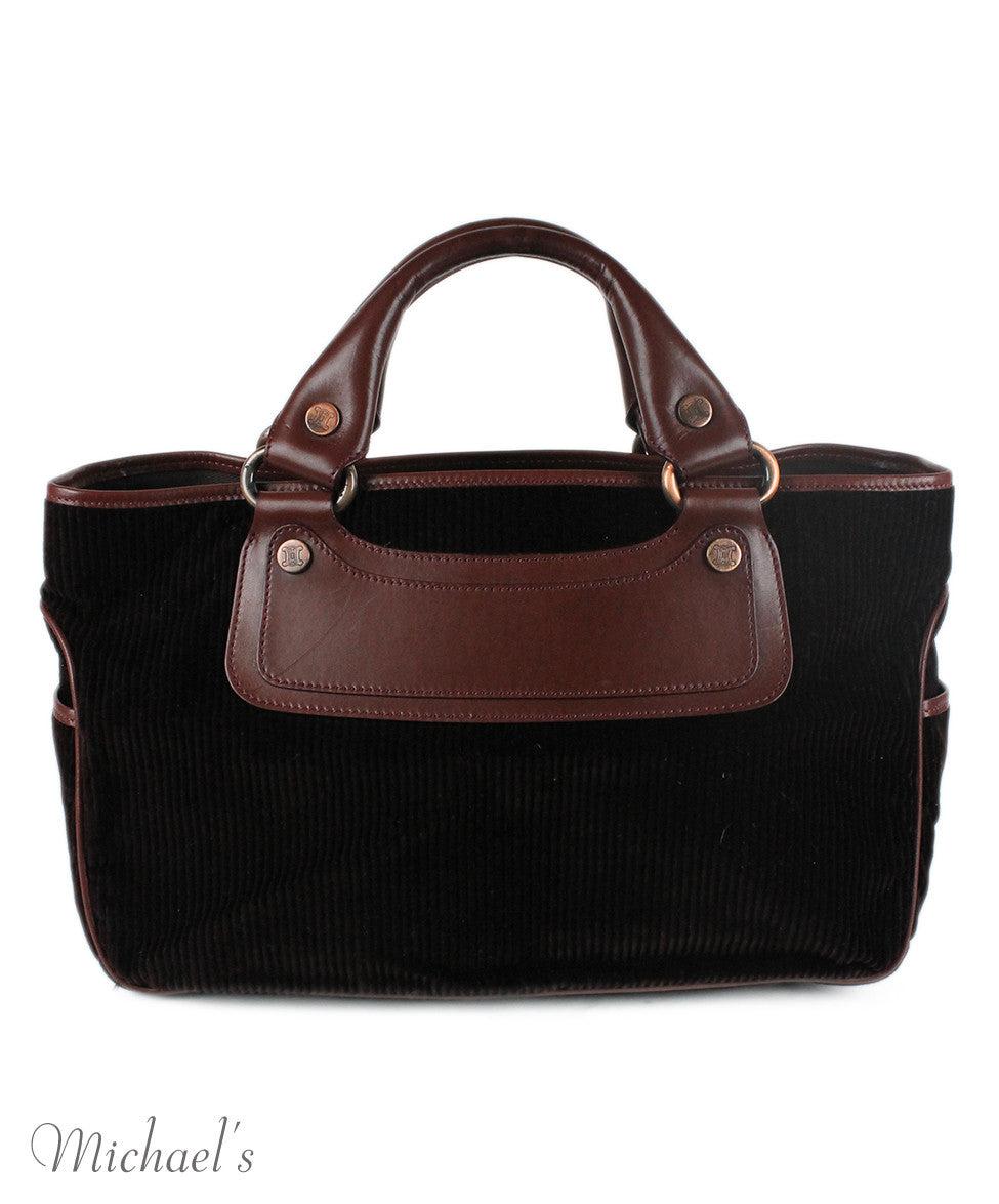Celine Brown Corduroy Leather Bag - Michael's Consignment NYC  - 3