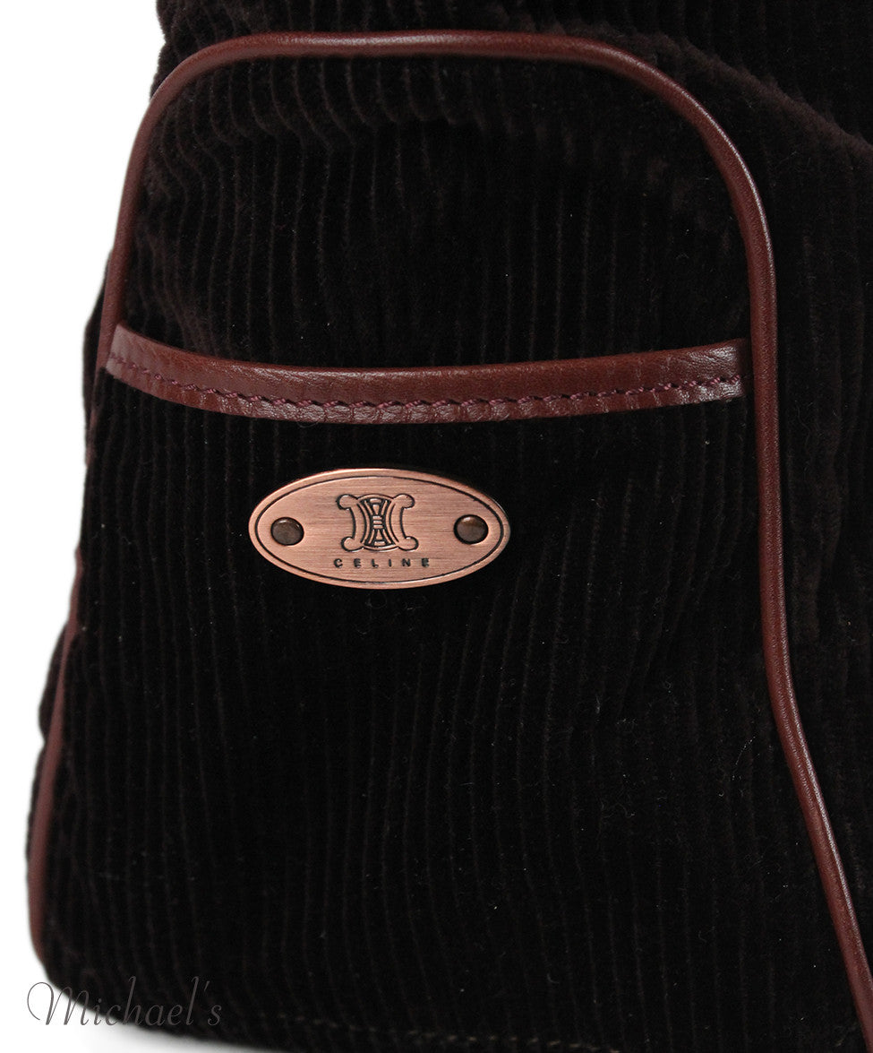 Celine Brown Corduroy Leather Bag - Michael's Consignment NYC  - 5