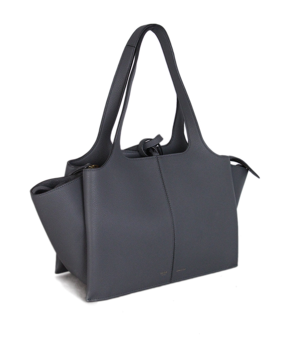 Celine Grey Leather Tri-fold Bag 2