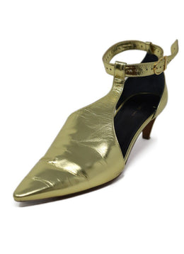 Celine Metallic Gold Leather Heels 1
