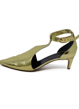 Celine Metallic Gold Leather Heels 2