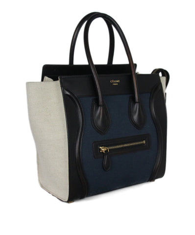 Celine Micro Luggage black navy beige canvas leather bag 1