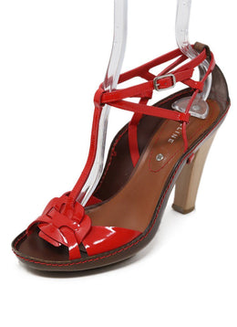 Celine Red Patent Leather Sandals Sz 37.5