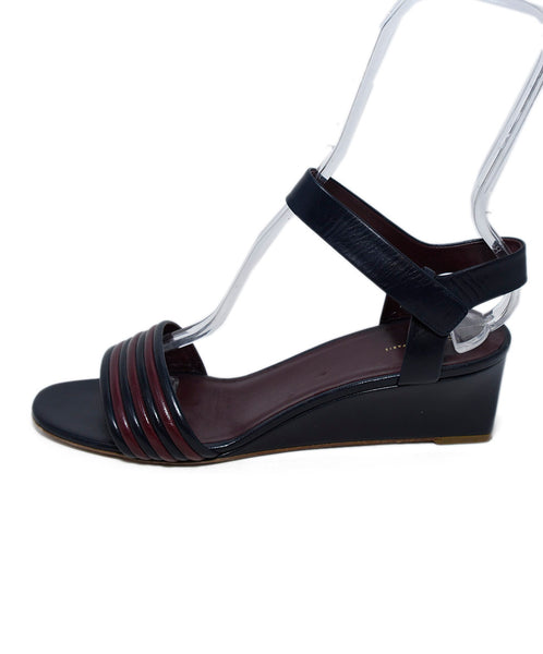 Celine Blue Navy Burgundy Leather Sandals 2