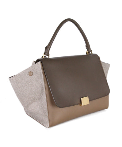 Celine Tan Beige Leather trapeze tote 1