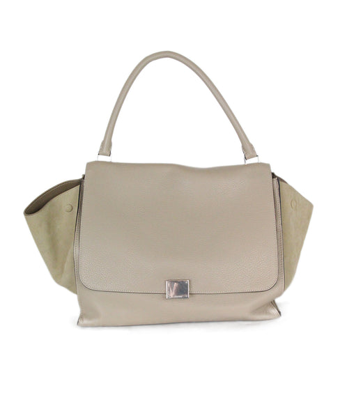 Celine Trapeze neutral beige leather suede bag 1