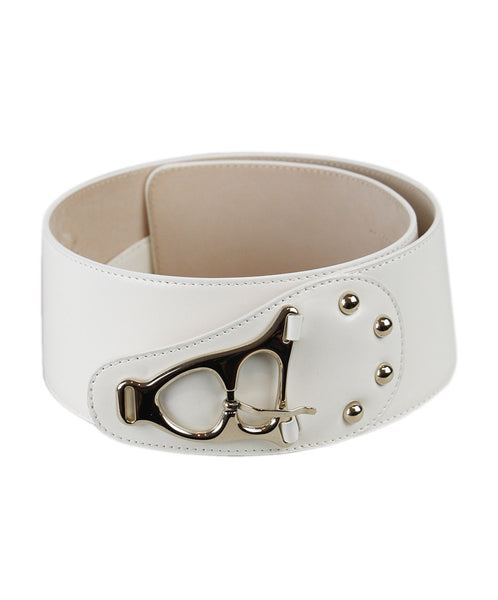 Celine White Ivory Leather Belt