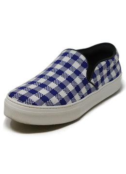 Celine White Blue Check Cotton Sneakers 1