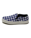 Celine White Blue Check Cotton Sneakers 2