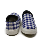 Celine White Blue Check Cotton Sneakers 3